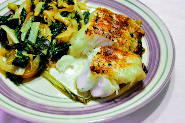 Potato Wrapped Halibut with Swiss Chard-007